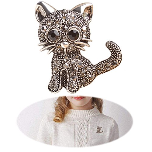 Cat Brooch - Fashion Cat Pin - Women Punk Rhinestone Brooch Pin - Inlaid Crystal Animal Breastpin - Vintage Elegant Hat Sweater Pin - Catch Scarf or Lapel - Unique Alloy Dress Decor with White Diamond Black Cat
