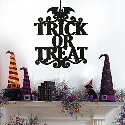 ZBmiluddeer Trick Or Treat Decor Non-Woven Door Wall Sign Halloween Spooky Hanging Prop - Trick or Treat for $<!--$2.99-->