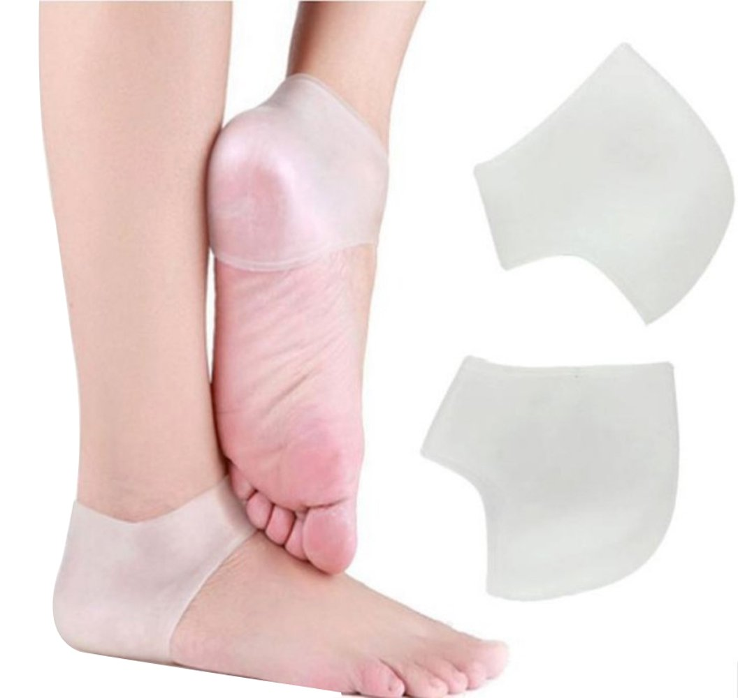 Gel Heel Cups Inserts and Compression Heel Sleeves Socks-A Pairs, Foot Ankle Pain Relief for Plantar Fasciitis Spurs Pads Cracked, Heel Protection Cushion Shock Absorptio KOOTIPS Kootips-1-4084