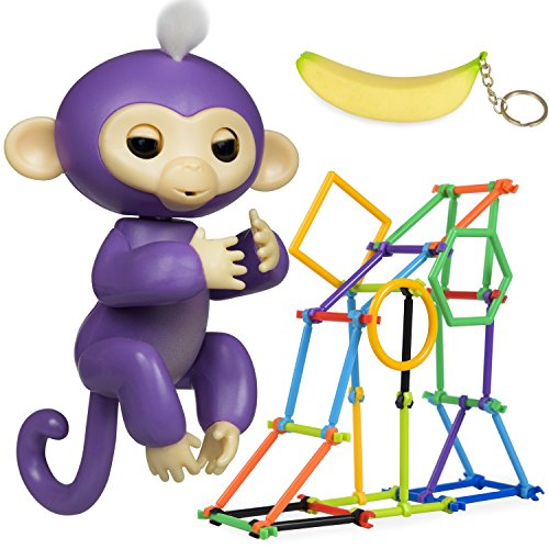 Interactive Finger Monkey Toy - Gift for Girls & Boys - Baby Monkey Jungle Gym Playset 50 Pieces + Banana Squishy Keychain Accessories BONUS (Purple) - Exclusive Playset Light