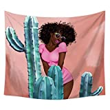 African Afro Women Beside Cacti Decor Tapestry Wall Hanging Hippie Hippy Boho Bohemian Wall Art - Window Curtain Table Cover Bedspread Beach Towel Tapestry HYC23-C (59'' x 71'')