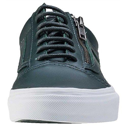 Vans Damen Gunmetal Grün/True Weiß Old Skool Reißverschluss Sneakers