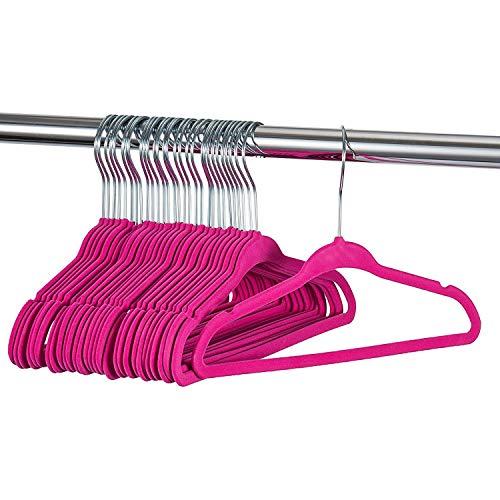 ZOBER Premium Kids Velvet Hangers (11 Inch - 30 Pack) Non Slip Baby Hangers, Ultra Slim Space Saving Childrens Hangers - 360