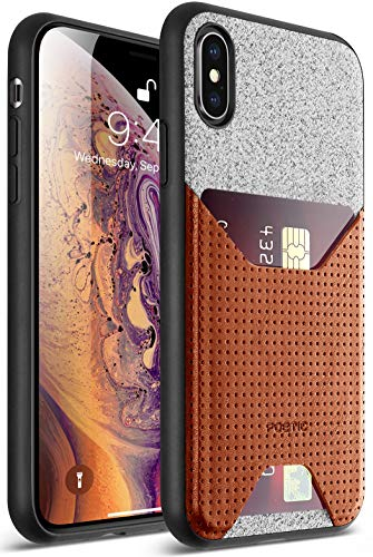 iPhone Xs Max Credit Card Case, Poetic Nubuck [Credit Card Slot] Credit Card ID Case - Stylish Thin TPU + Premium Leather Back Case for Apple iPhone Xs Max 6.5 OLED Display Brown