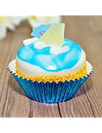 Buy 100 New Bake Sale Fundraiser Blue Foil Cupcake Baking Liners Grease-Proof Paper lowestprice