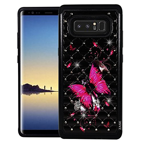 Galaxy Note 8 Case, Samsung Galaxy Note8 Hybrid Dual Layer Protection Jewel Rhinestone [Shock Resistant Defender] Hard Shell Crystal Bling Cover for Note 8 by Zase (Diamond Hot Pink Butterfly Flower)