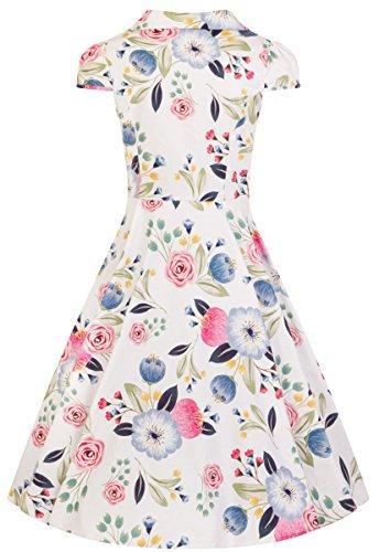 Blumen Swing Roses Hearts mit Bunten Dress Blumen Weiß Kleid amp; Blossom Damen White Y0qpwA0