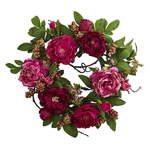 Nearly Natural 30 in. Peony and Berry Wreath in Green and Pink