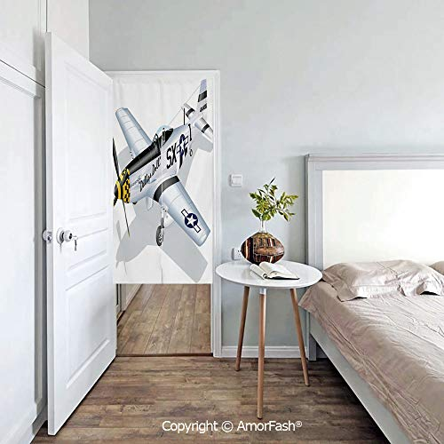 (Vintage-Airplane-Decor Printed Noren Curtain Tapestry Long Type/Short Type,Cotton Llinen,P 51 Mustang Dallas Doll Detailed Illustration American Air Force Decorative)