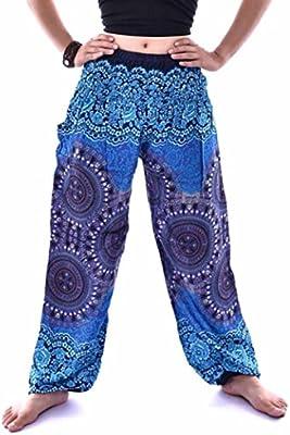 a2ff191267 VENMO Hombres mujeres tailandesas pantalones de harén Festival hippy  delantal hippie alta cintura pantalones de yoga (azul