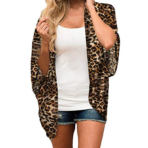 lotus.flower Women Chiffon Leopard Print Kimono Loose Half Sleeve Shawl Cardigan Cover Up (S, Brown)