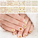 Whaline Fall Nail Art Tattoo Stickers (12 Sheets)Maple Leaves Water Transfer Decals Self-Adhesive Stickers Harvest Pumpkin for Women Girls Kids DIY Autumn Thanksgiving Day