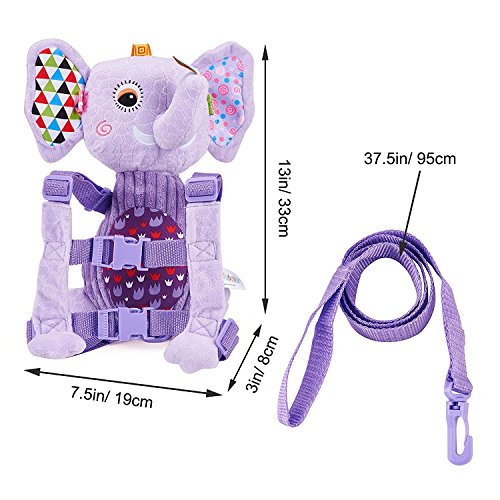 Mufly Toddler Safety Harness Backpack Children's Walking Leash Strap and Name Label -Multicolor (purple) by Mufly (Image #5)