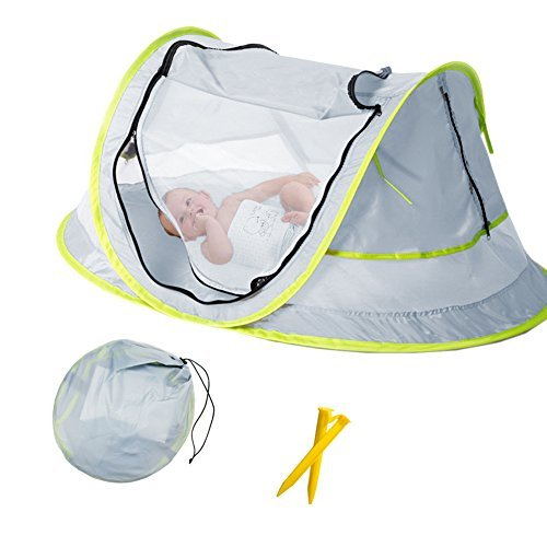 Baby Beach Tent, Portable Baby Travel Bed UPF 50+ Sun Shelters for Infant , Pop Up Mosquito Net with 2 Pegs Sunshade Ultralight - Beach Baby