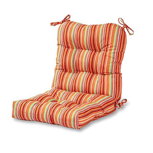 Greendale Home Fashions Outdoor Seat/Back Chair Cushion in Coastal Stripe, Watermelon