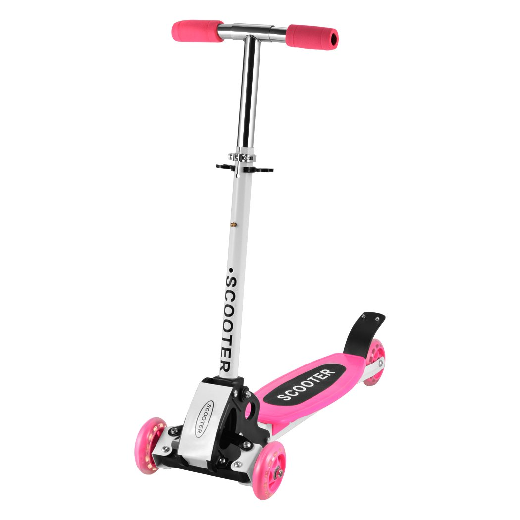 Mabay 3 Wheel Kick Scooter Kids Scooter Adjustable Folding Alloy Boys/GirlsChildren (Pink)