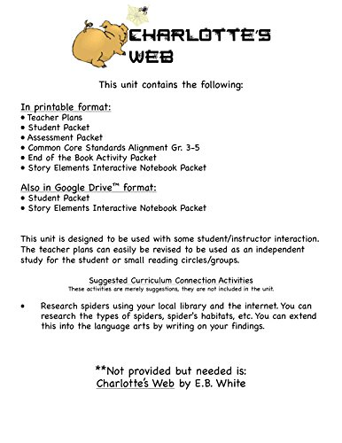 Counting Number worksheets kindergarten sentence writing worksheets : Amazon.com : Charlotte's Web Novel Study Unit CD : Teachers ...