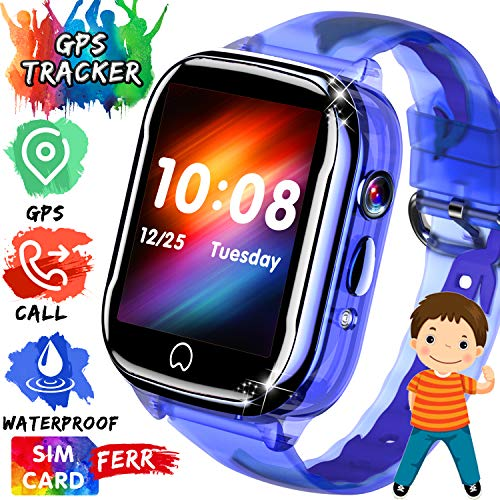 iGeeKid [SIM Card Included Smart Watch GPS Tracker for Kids - IP67 Waterproof Smartwatch Phone for Boys Girls - LBS/GPS Tracker Locator Watch with SOS Call Voice Chat Camera Games for Birthday Gifts