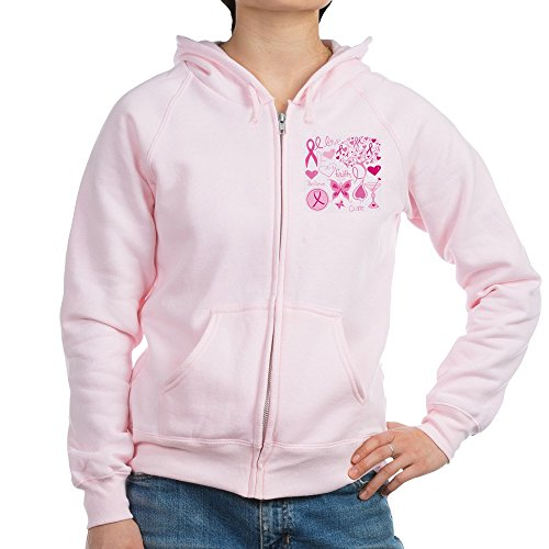 Royal Lion Women's Zip Hoodie Cancer Cure Awareness Love Support - Pale Pink, 2X