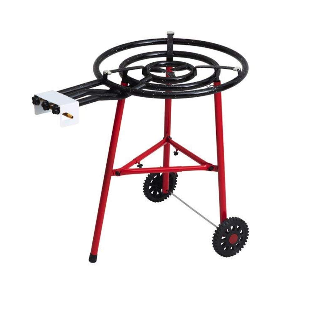 SavaHome Paella Cooking Set, Triple Camping Cooker (23.65'') + Stand Set with Metal Legs and Wheel + 25.60'' Enamalled Pan, Up to 20 Servings