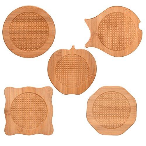 Bamboo Trivets 5 PCS Natural Bamboo Hot Pots Trivet Mat Set 6