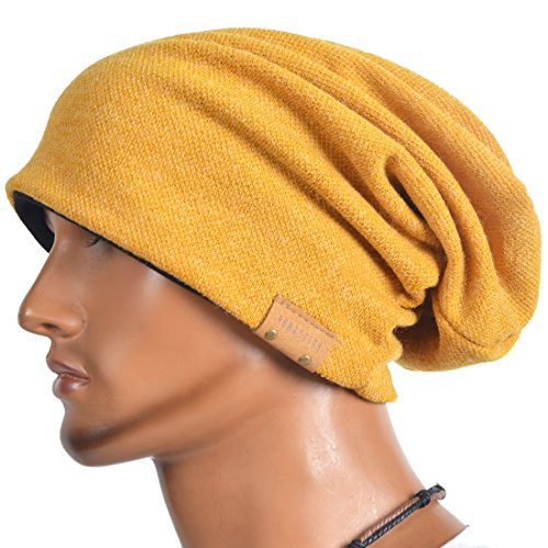 VECRY Men's Cool Cotton Beanie Slouch Skull Cap Long Baggy Hip-hop Winter Summer Hat (Ginger) by VECRY (Image #3)