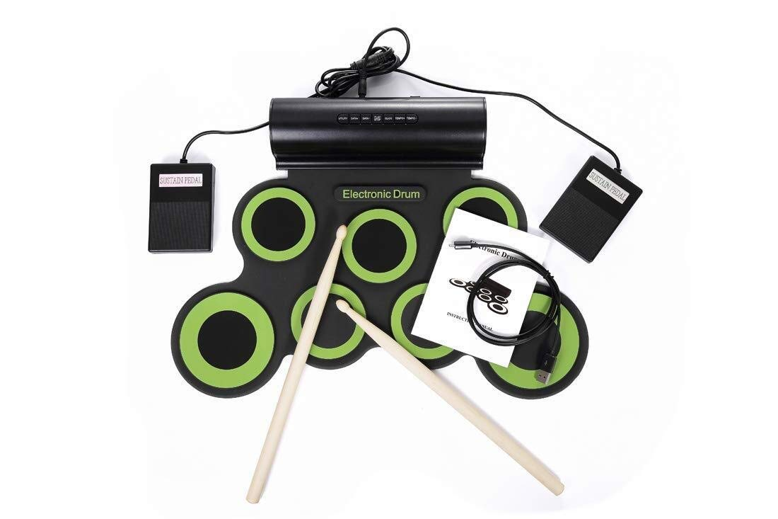 Electronic drum Set,USB 7 Pad Portable Roll Up Drum Pad Kits Foldable Musical Practice Instrument- Support Charging DTX Game Dual Speakers (Color : Green)