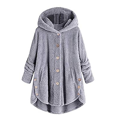 COPPEN Women Coat Button Fluffy Tail Tops Hooded Pullover Loose Sweater Black