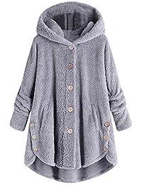 800ca5883d8 Women s Winter Long Fleece Overcoat Faux Fur Sherpa Hoodie Coat Button Down  Cardigan