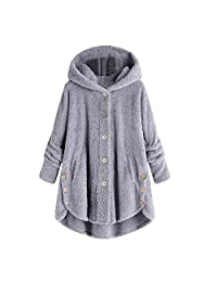 Womens Button Hooded Cotton Coat Clearance Plus Size,Warm Fluffy Tail Tops Loose Sweater Tunic Jacket Outerwear