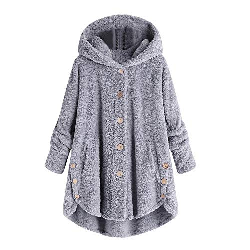 POTO Women Coats Plus Size,Womens Button Coat Fluffy Tail Top Hooded Pullover Loose Sweater Blouse Parka Outwear S-5XL Gray