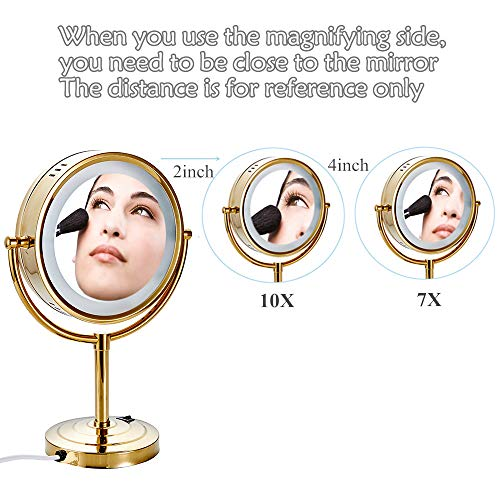 Cavoli 8.5 inch LED Makeup Mirror with 7x Magnification,Extendable Bathroom Mirror,Tabletop Two-sided,Gold Finish(8.5in,7x) by Cavoli (Image #6)