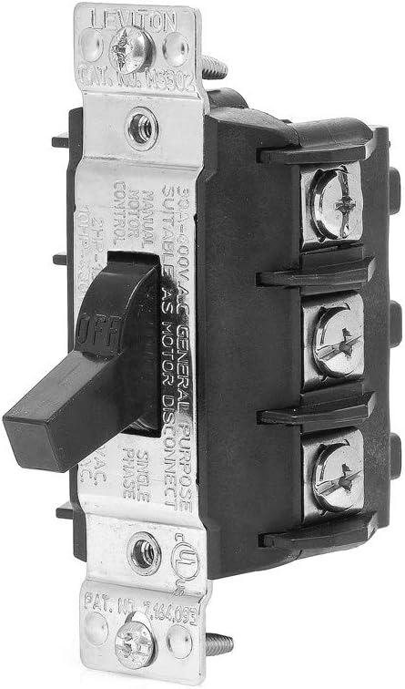 Toggle Three-Pole AC Motor Starter 600 Volt Leviton N1303-DS 30 Amp Suitable