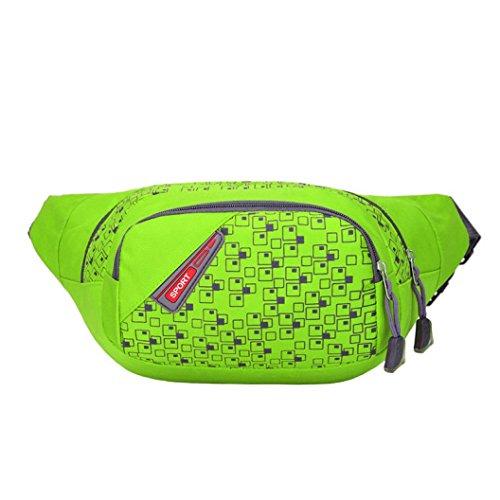 Kimloog Outdoor Running Hiking Travel Handy Fanny Pack Men and Women Waterproof Waist Belt Zip Pouch Bum Bag (green)