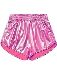 Womens Yoga Hot Shorts Shiny Metallic Pants Rave Booty Dance