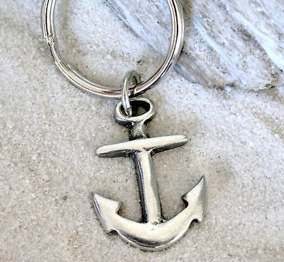 Fine Pewter Keychain - Pewter Anchor Nautical Navy Boat Christian Keychain Key Tag Fob Ring