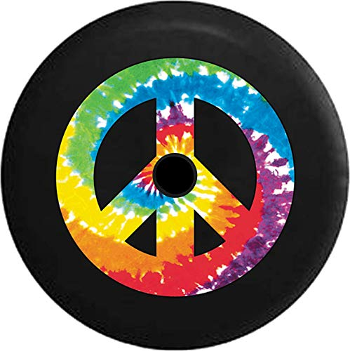(JL Series Jeep Spare Tire Cover with Backup Camera Hole Tie Dye Peace Sign Full Color Black 33 in)