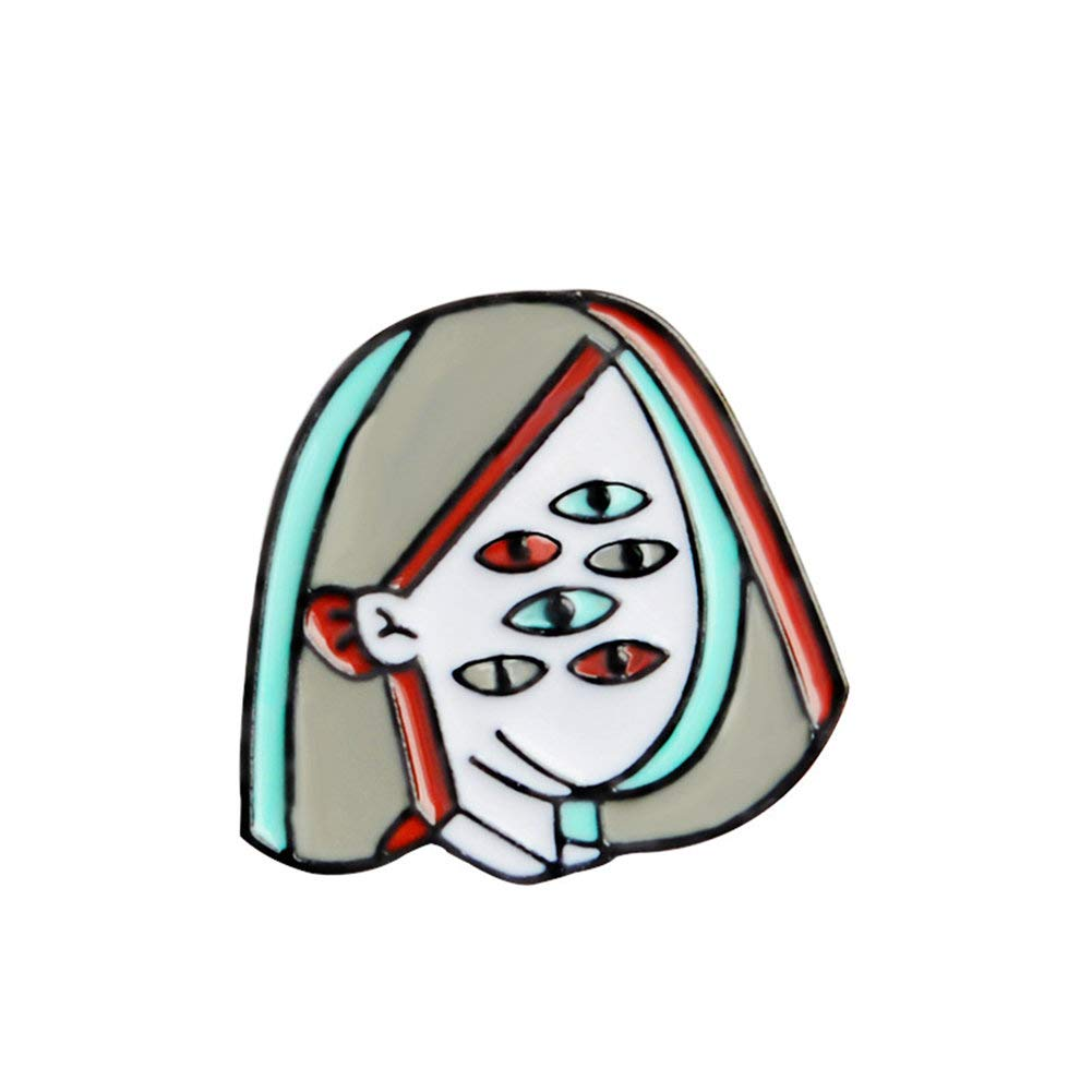 Novelty Enamel Lapel Pin Brooch Picasso Style Cartoon Multi-Eyed Girl Badge Backpack Hat Jacket Accessories