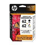HP 62 Black & Tri-color Instant Ink Enrollment Kit with Service Credit, 2 Cartridges (1VU45AN) Sign up with HP Instant Ink Service Required for Cartridges to Work