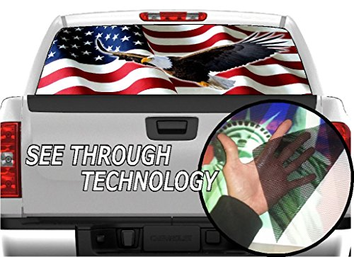 P325 American Flag Eagle Tint Rear Window Decal Wrap Graphic Perforated See Through Universal Size 65
