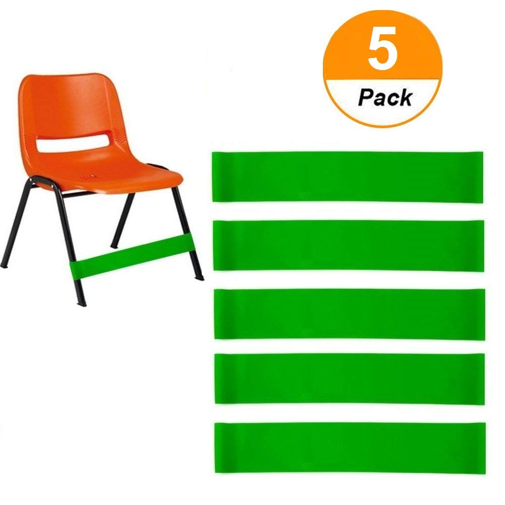 (5 Count) Natural Latex Stretch Foot Bands Workout ADHD ADD SPD Autism Sensory Needs & Stretch Foot Band Chairs Solace Helps Improve Focus in The Classroom Rehab Physical Therapy Sakolla
