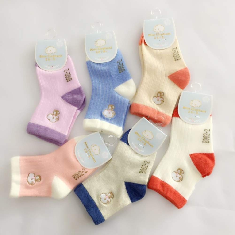 6 Pairs Toddler Baby Cotton Solid Color Cartoon Elephant Embroidery Basic Crew Socks
