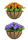Sorbus Half Moon Wall Planter Baskets with Coco Liner, Vertical Garden Wall Hanging Planters for Flowers, Plants, etc, Decorative for Fence, Rail, Patio, Deck, Black Metal (Half Planter - 15.75')