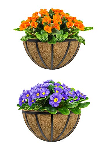 Sorbus Half Moon Wall Planter Baskets with Coco Liner, Vertical Garden Wall Hanging Planters for Flowers, Plants, etc, Decorative for Fence, Rail, Patio, Deck, Black Metal (Half Planter - 13.75