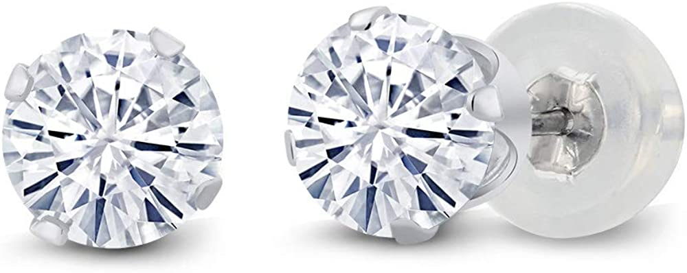 10K White Gold Stud Earrings Set Round Forever Classic Very Light (IJK) 1.00 ct (DEW) Created Moissanite from Charles & Colvard