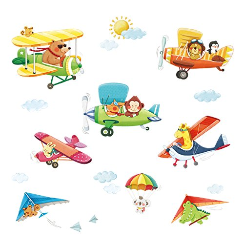 Decowall DA-1506BC Animal Biplanes with Hang Glider Kids Wall Decals Wall Stickers Peel and Stick Removable Wall Stickers for Kids Nursery Bedroom Living Room