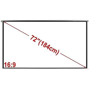 Weilandeal Pantalla Proyeccion Manual 160 X 90 cm Blanco Opaco 16 ...