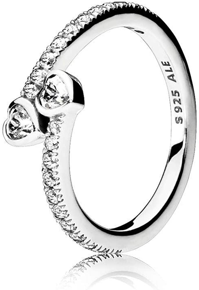 Pandora Jewelry - Two Sparkling Hearts Ring for Women in...
