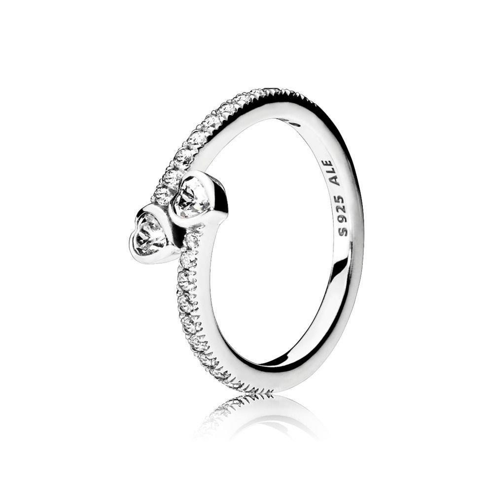 d10ab5e04 Amazon.com: PANDORA Forever Hearts Ring, Clear CZ 191023CZ-54 EU 7 US:  Jewelry