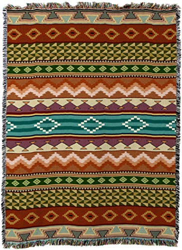 (Pure Country Weavers - Southwest Stripe Geometric Woven Tapestry Throw Blanket with Fringe Cotton Made In The USA Size 69x54)